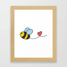 Very Cute Flying Bee Heart Lover Framed Art Print