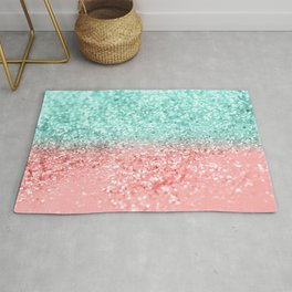 Summer Vibes Glitter #1 #coral #mint #shiny #decor #art #society6 Rug