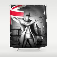 law Shower Curtains featuring AUSTRALAIN OUT-LAW by shannon's art space