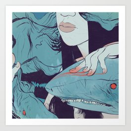 Peaceoffering: Sharks! Women! Danger. Art Print