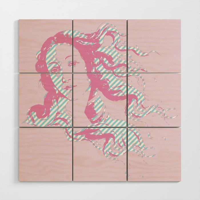 Rebirth of Venus - Pink & Cyan - Trans Pride! Wood Wall Art