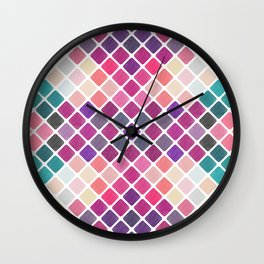Watercolor Geometric Pattern III Wall Clock