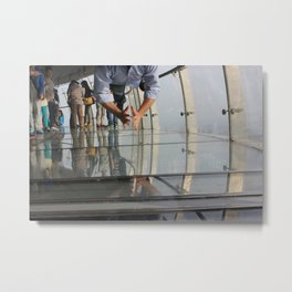 Not Afraid of the Glass Floor in Oriental Pearl Tower Metal Print
