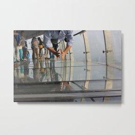Not Afraid of the Glass Floor in Oriental Pearl Tower Metal Print