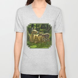 Whitetail Deer and Cute Spring Fawn Unisex V-Neck