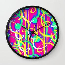 Streamer Celebrations on pink Wall Clock