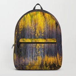 Autumn Aspens - Rows of Colorado Aspen Trees with Autumn Color in Reflection Illusion Backpack