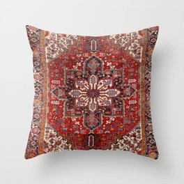 Persia Heriz 19th Century Authentic Colorful Blue Red Cream Vintage Patterns Throw Pillow