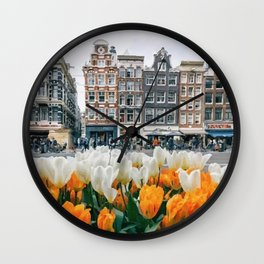 Houses and tulips Wall Clock