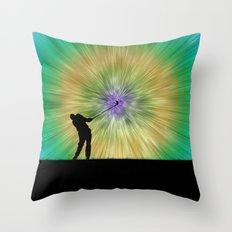 Green Tie Dye Golfer Silhouette Throw Pillow
