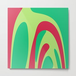 Nouveau Retro Graphic Red and Green Metal Print