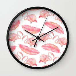 Flamingo Feather Art Pattern Wall Clock