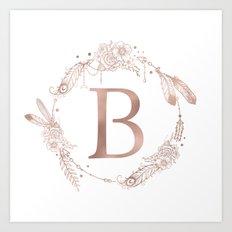 Letter B Rose Gold Pink Initial Monogram Art Print