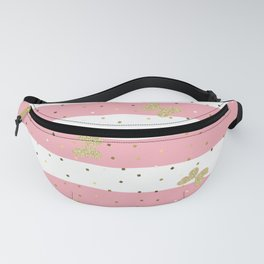 Glitter Butterfly on Pastel Pink and White Stripes Fanny Pack
