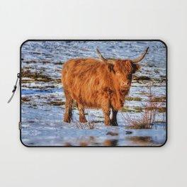 Hamish the Scottish Highland Bull in Winter Snow Laptop Sleeve