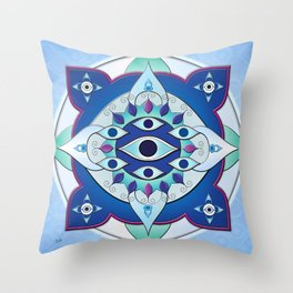 Mandala of the Seven Eyes Throw Pillow