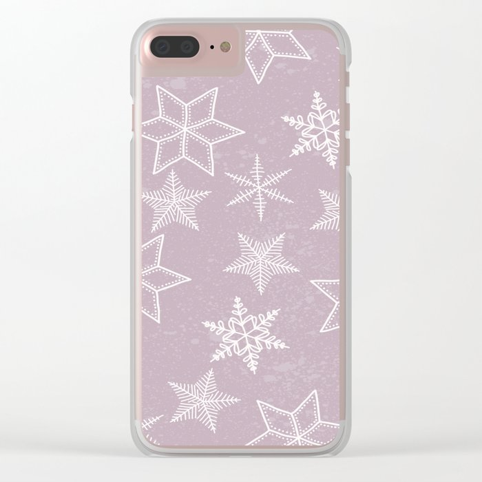 Snowflakes on pink background Clear iPhone Case