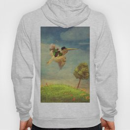 The little boy and brown pelican  in the sky Hoody
