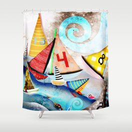 Wooden sail boat Love - Wild ocean waves Shower Curtain