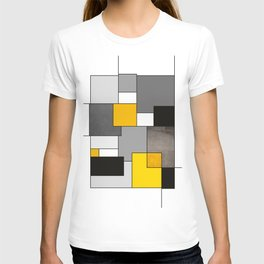 Black Yellow and Gray Geometric Art T-shirt