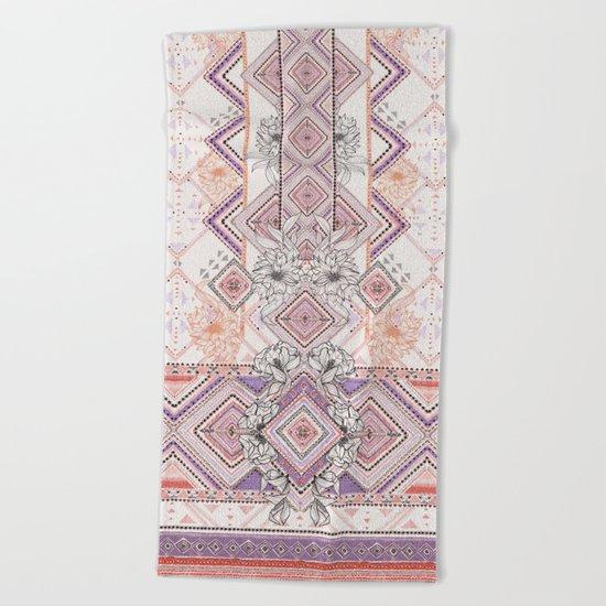 Aztec Lines Floral Beach Towel