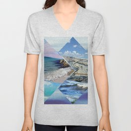 Sea, Sand and Sky Collage Unisex V-Neck