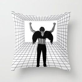 A winged man in a room Throw Pillow