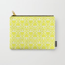 Paw Prints on my Heart - in Yellow Carry-All Pouch
