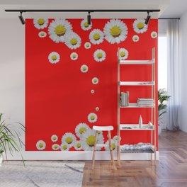 CHINESE RED WHITE DAISIES MODERN ART Wall Mural