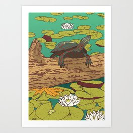 Turtle & Lilypad Art Print
