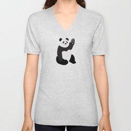 Waving Panda Bear Unisex V-Neck