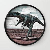 dino Wall Clocks featuring Dino by Nick Douillard