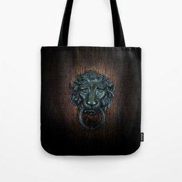 Vintage bronze lion door knocker Tote Bag