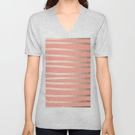 Simply Drawn Stripes in White Gold Sands and Salmon Pink Unisex V-Neck