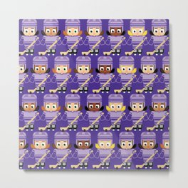Super cute sports stars - Ice Hockey Purple Girls Metal Print