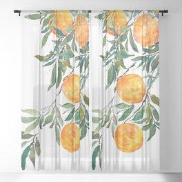 orange watercolor Sheer Curtain