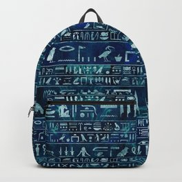 Egyptian hieroglyphs -silver on blue painted texture Backpack