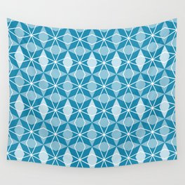 Rhombus Pattern, Pacific Blue Wall Tapestry