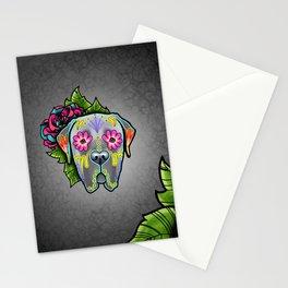 Mastiff in Grey - Day of the Dead Sugar Skull Dog Stationery Cards