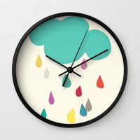 cassia beck Wall Clocks featuring Sunshine and Showers by Cassia Beck