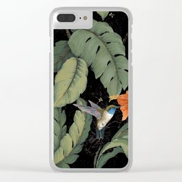 Humming bird monstera nite Clear iPhone Case