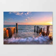 Rushing Waves at Sunset Canvas Print
