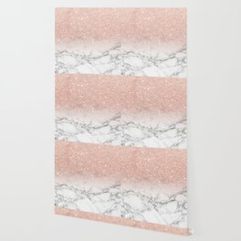 Modern faux rose gold pink glitter ombre white marble Wallpaper