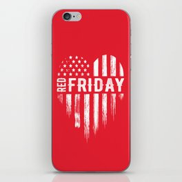 Red Friday Distressed USA Heart Military iPhone Skin