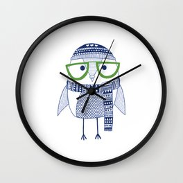Hipster owl - green glasses Wall Clock