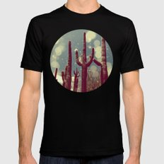 Space Cactus MEDIUM Black Mens Fitted Tee