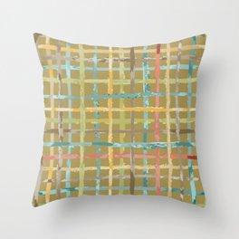 Parisian Casual Watercolor Plaid Throw Pillow