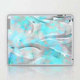 Abstract modern aqua gray watercolor brushstrokes pattern Laptop & iPad Skin