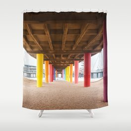 Pier with color painted columns on the beach Shower Curtain