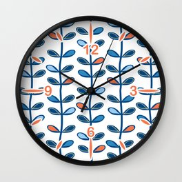 Retro Mid Century Modern Leaf Pattern in Classic Blues and Muted Orange Wall Clock